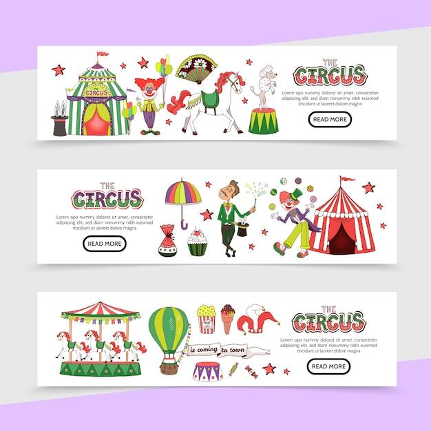 Banners horizontais de circo plano Vetor Premium