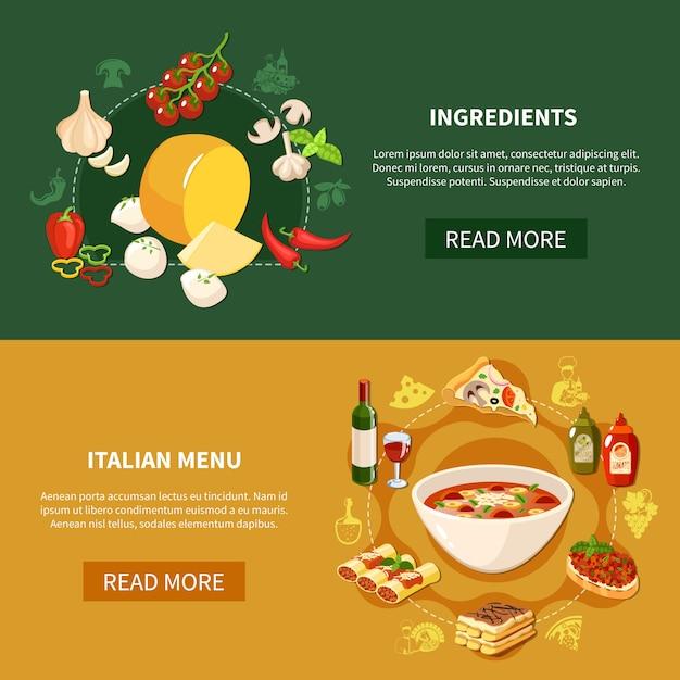 Banners horizontais de comida italiana Vetor grátis
