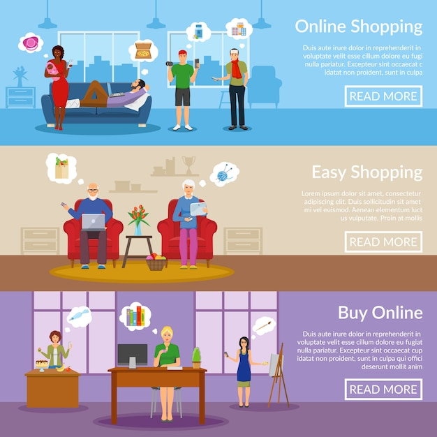 Banners horizontais de compras on-line Vetor grátis