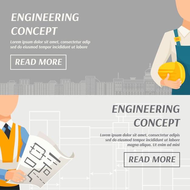 Banners horizontais de conceito de engenharia Vetor grátis