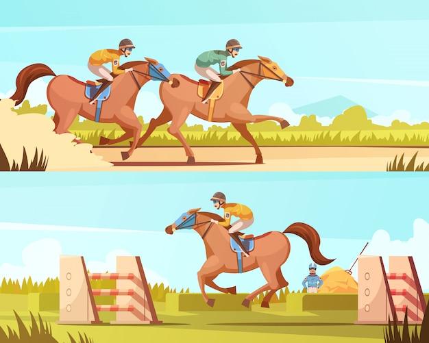 Banners horizontais de desporto equestre com passeios a cavalo e corridas cartoon composições ilustração em vetor plana Vetor grátis