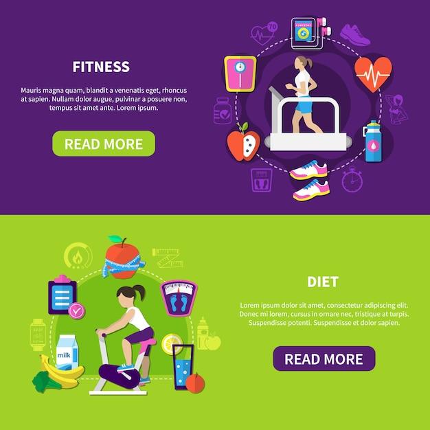 Banners horizontais de dieta fitness Vetor grátis