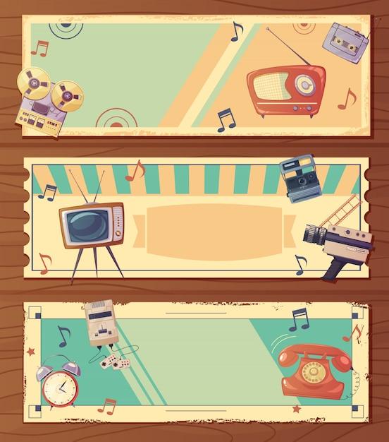 Banners horizontais de dispositivos retrô Vetor grátis