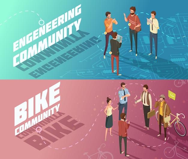 Banners horizontais de engenharia isométrica e comunidades de bicicletas Vetor grátis