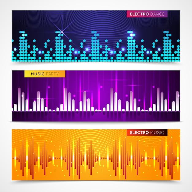 Banners horizontais de equalizador de áudio definido com ilustração em vetor isolados música festa símbolos plana Vetor grátis