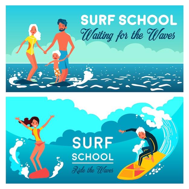 Banners horizontais de escola de surf Vetor grátis