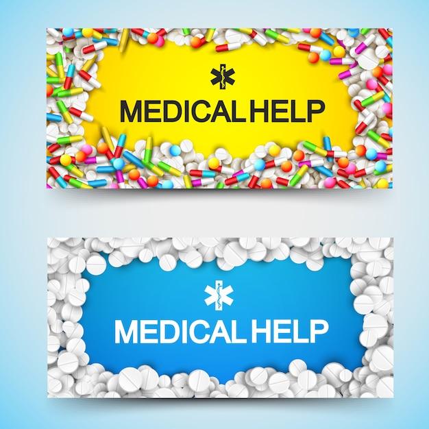 Banners horizontais de farmácia com cápsulas de comprimidos de inscrição e medicamentos de ajuda médica Vetor grátis