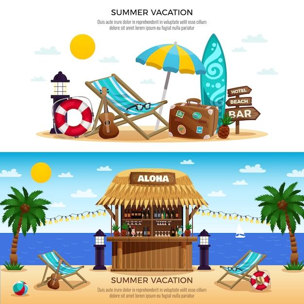 Banners horizontais de férias de verão Vetor grátis