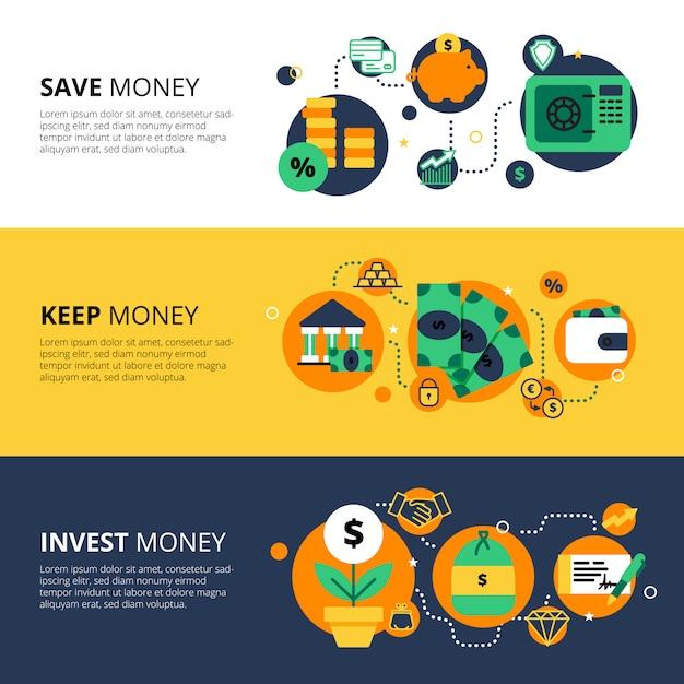 Banners horizontais de finanças Vetor grátis