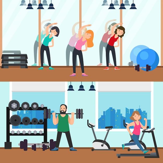 Banners horizontais de fitness Vetor grátis