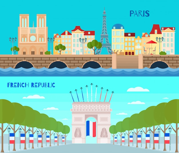 Banners horizontais de frança com ilustração em vetor isolados plana símbolos república francesa Vetor grátis