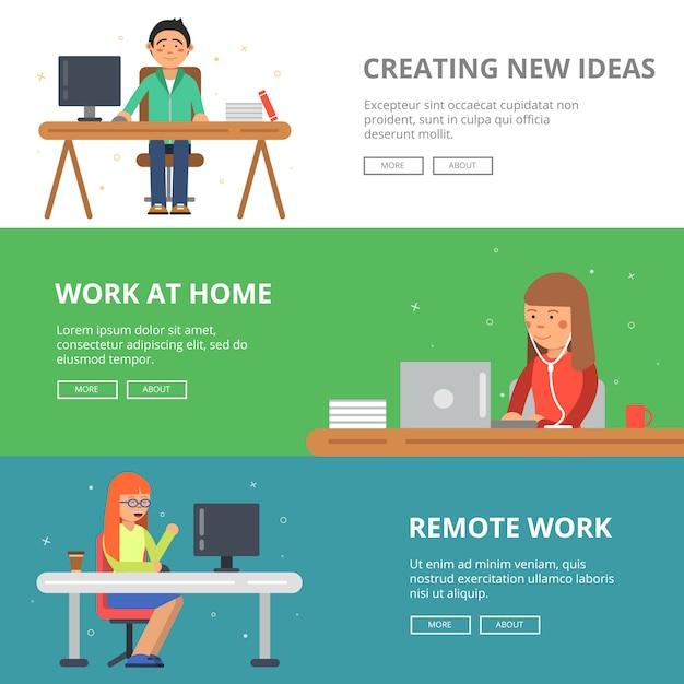 Banners horizontais de freelancers em seu espaço de trabalho. Vetor Premium
