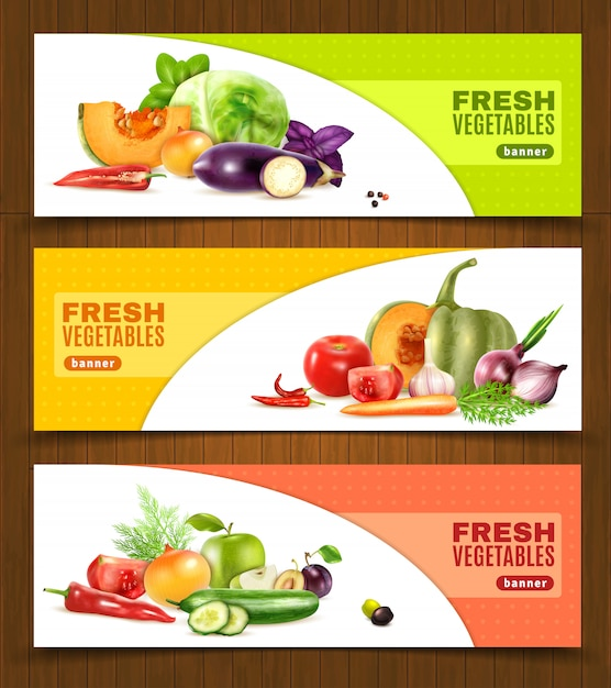 Banners horizontais de frutas e legumes Vetor grátis