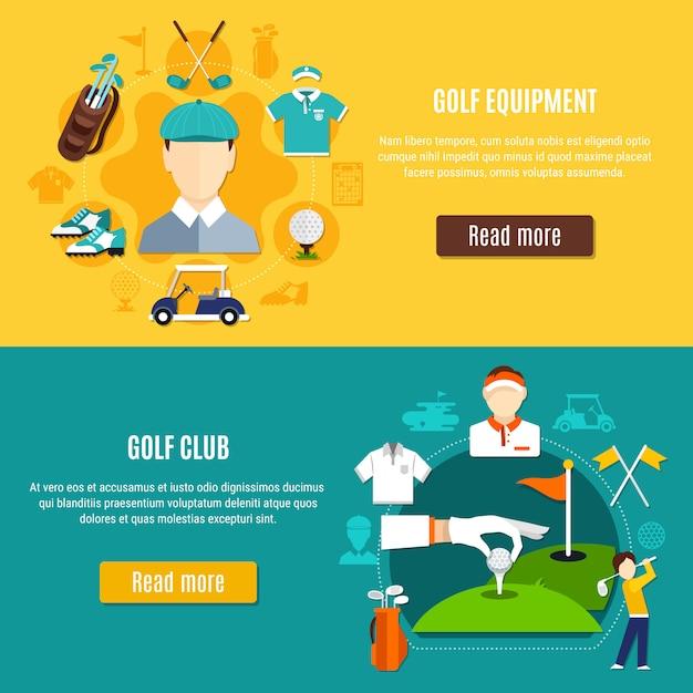 Banners horizontais de golfe Vetor grátis