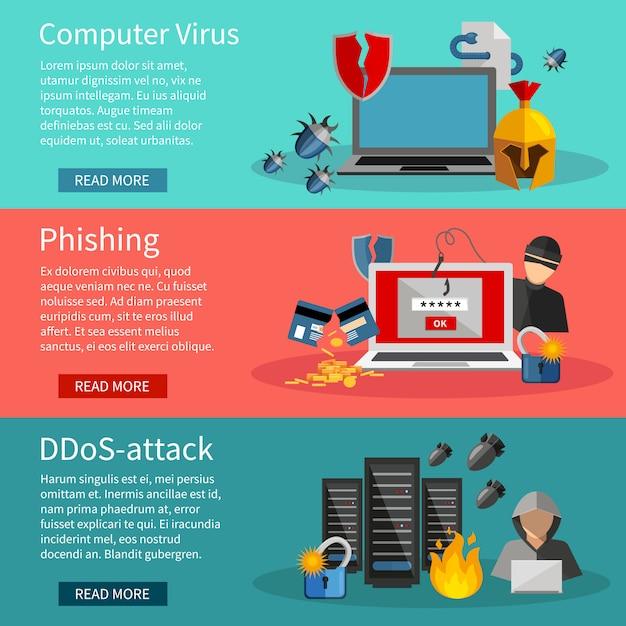 Banners horizontais de hackers com ícones de ataques ddos Vetor grátis