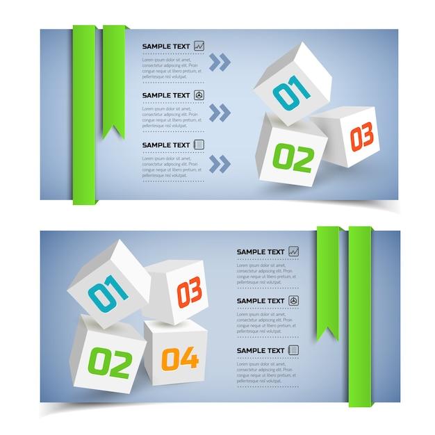 Banners horizontais de infográfico de negócios abstratos com cubos 3d brancos Vetor grátis