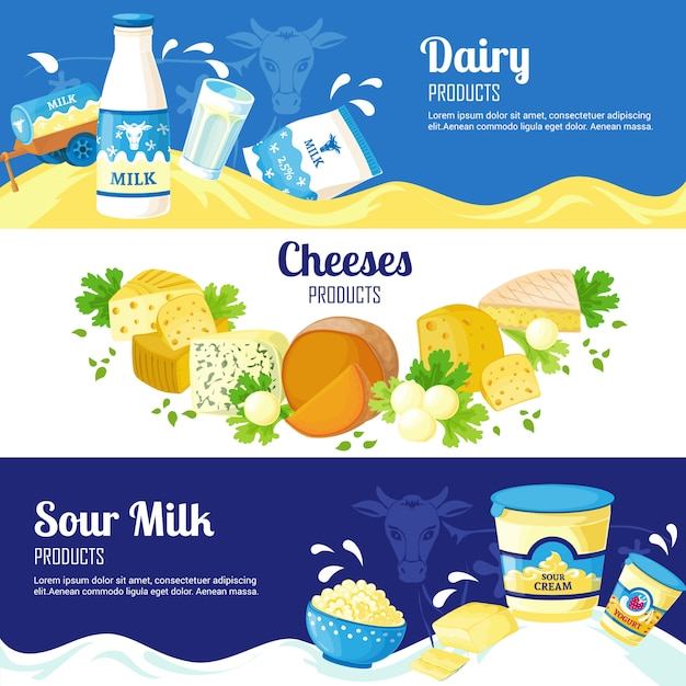 Banners horizontais de leite e queijo Vetor grátis