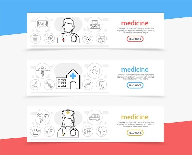 Banners horizontais de medicamentos Vetor grátis