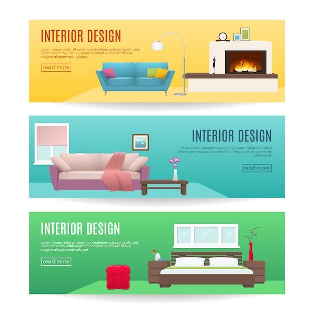 Banners horizontais de móveis conjunto com design de lareira salão e quarto interiores ilustração vetorial isolado Vetor grátis