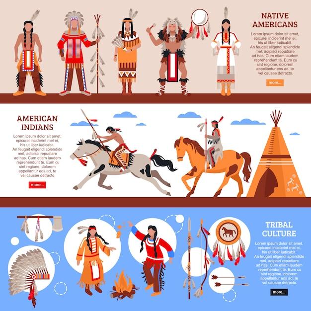 Banners horizontais de nativos americanos Vetor grátis