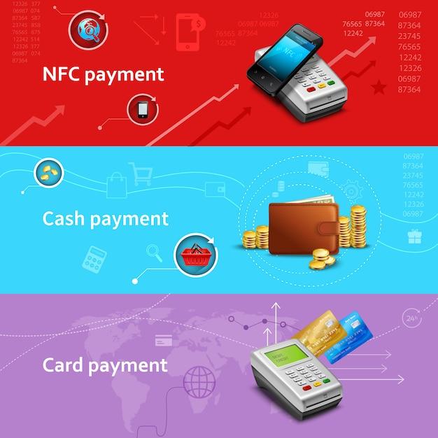 Banners horizontais de pagamento conjunto com elementos realistas de dinheiro e cartão Vetor grátis