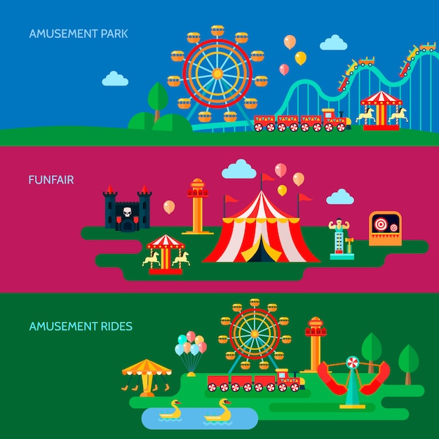 Banners horizontais de parque de diversões conjunto com símbolos de parque de diversões Vetor grátis