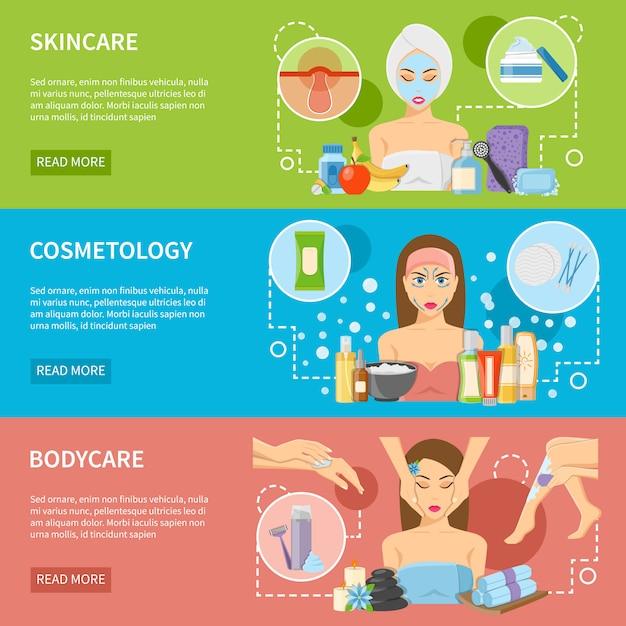 Banners horizontais de procedimentos de cosmetologia e spa Vetor grátis
