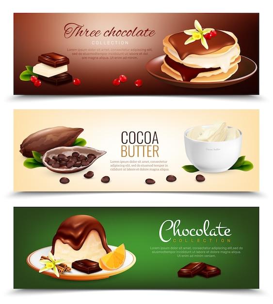 Banners horizontais de produtos de chocolate Vetor grátis