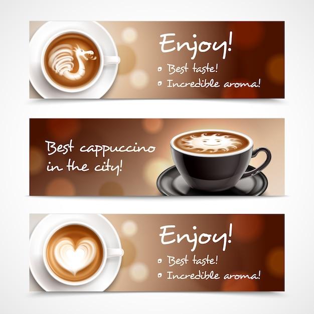 Banners horizontais de publicidade de café Vetor grátis
