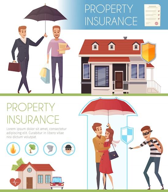 Banners horizontais de seguro de propriedade com pessoas sob o guarda-chuva como proteção de símbolo da vida pro Vetor grátis