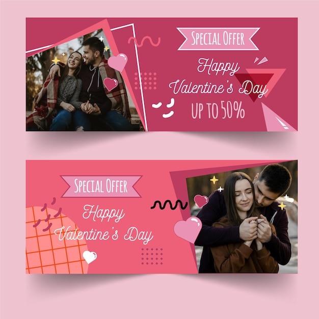 Banners horizontais de venda do dia dos namorados com foto Vetor grátis