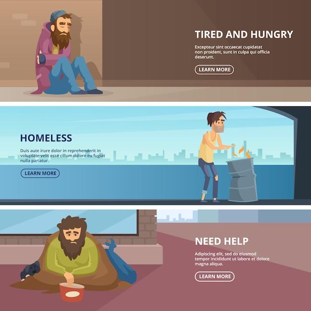 Banners horizontais de vetor com ilustrações de povos pobres e desabrigados Vetor Premium