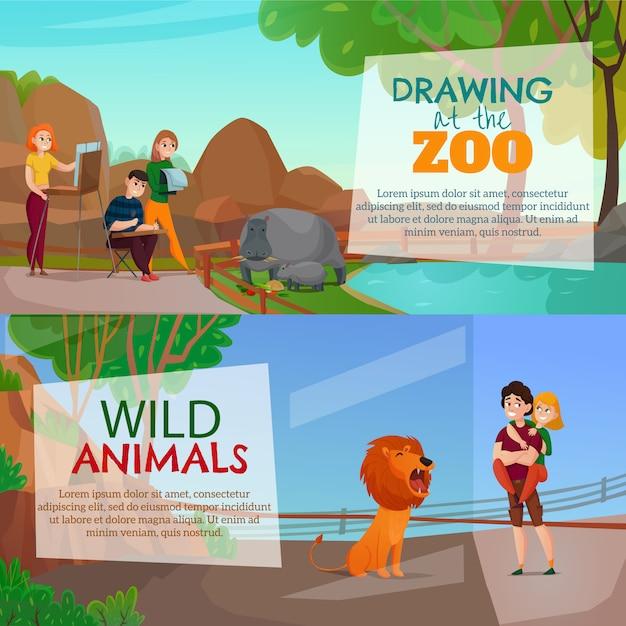 Banners horizontais de visitantes do zoológico Vetor grátis