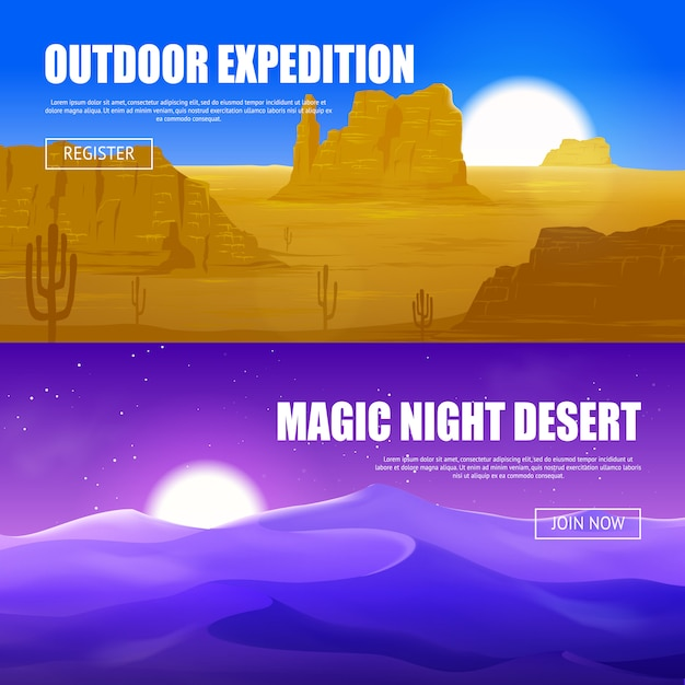 Banners horizontais do deserto Vetor grátis