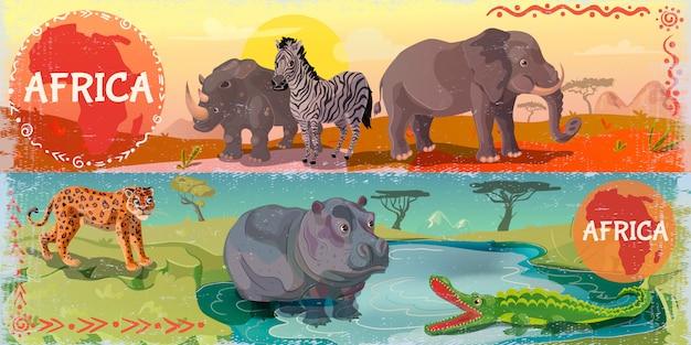 Banners horizontais dos desenhos animados wild africa Vetor Premium