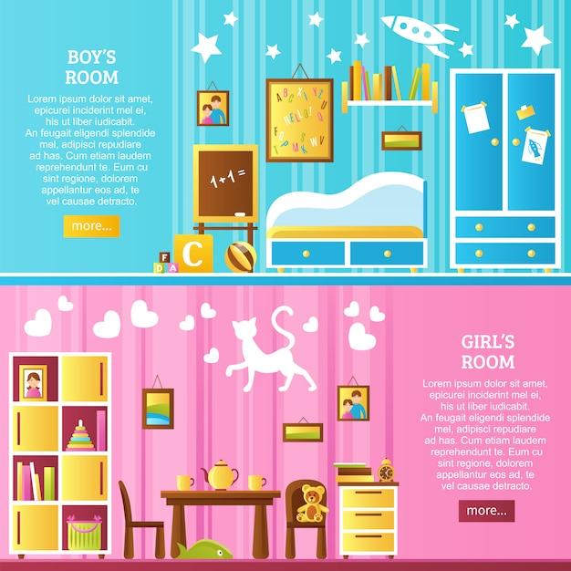 Banners horizontais interiores de quarto de bebê Vetor grátis
