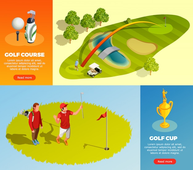 Banners horizontais isométricos de golfe Vetor grátis