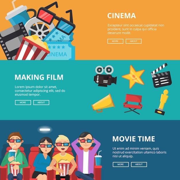 Banners horizontais no tema do cinema. personagens masculinas e femininas assistindo filmes Vetor Premium