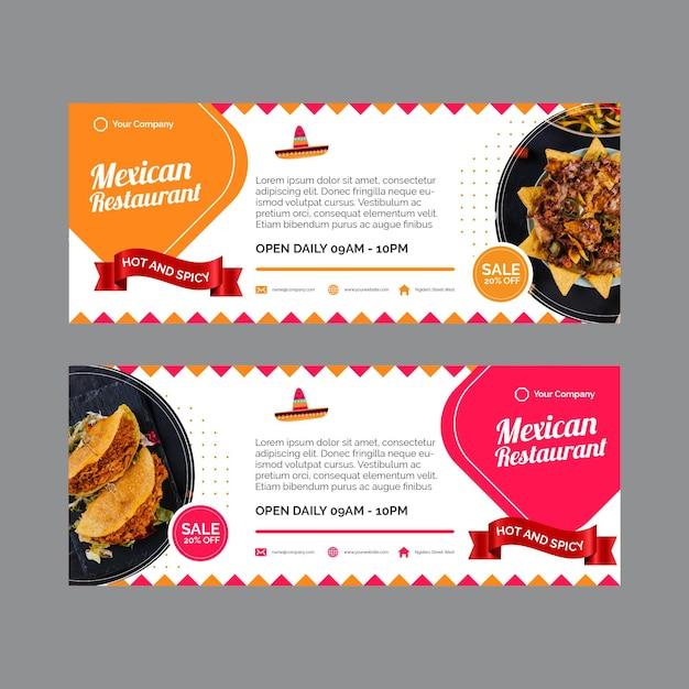 Banners horizontais para restaurante mexicano Vetor grátis