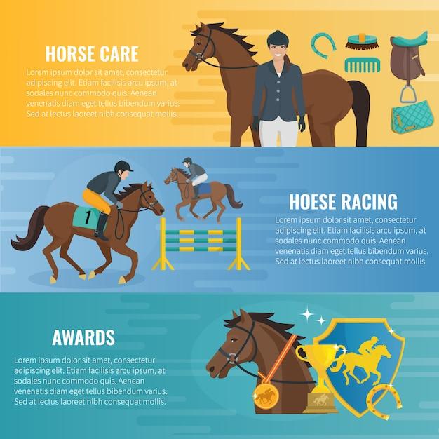 Banners horizontais planas de cor sobre corridas equestres de cuidados cavalo e prêmios em competição Vetor grátis