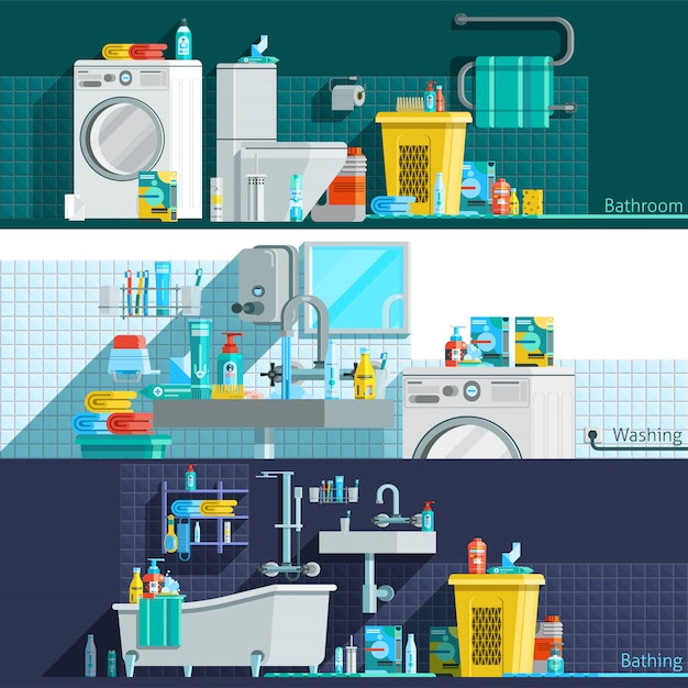 Banners horizontais planas de ícones de higiene Vetor grátis