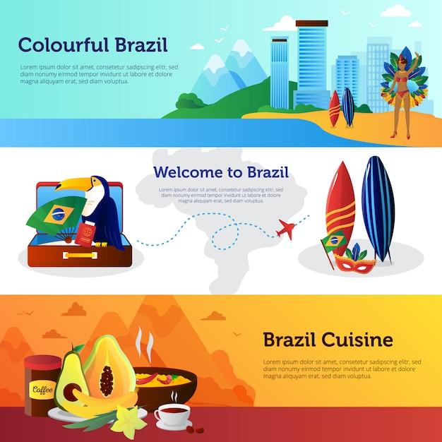 Banners horizontais planas de viagem brasil conjunto com marcos de pratos de cozinha nacional e ilustração vetorial de prancha de surf Vetor Premium