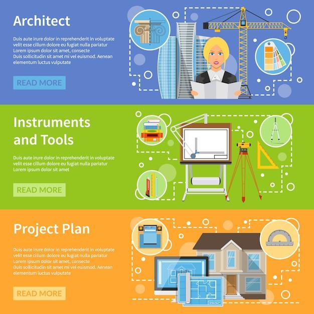 Banners horizontais planos de arquiteto Vetor grátis