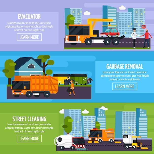 Banners horizontais planos de transporte especial Vetor grátis