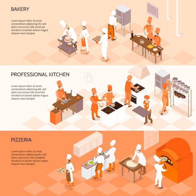 Banners isométricas horizontais com funcionários da padaria, chefs em cozinha profissional, cozinhar em pizzaria isolada Vetor grátis