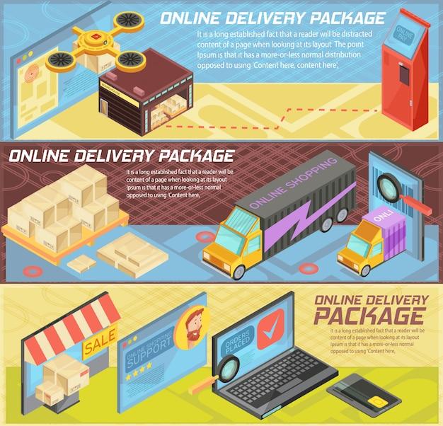 Banners isométricas horizontais de entrega on-line de mercadorias com internet compras, pacotes, armazém, transporte, ilustração vetorial de dispositivos móveis isolados Vetor grátis