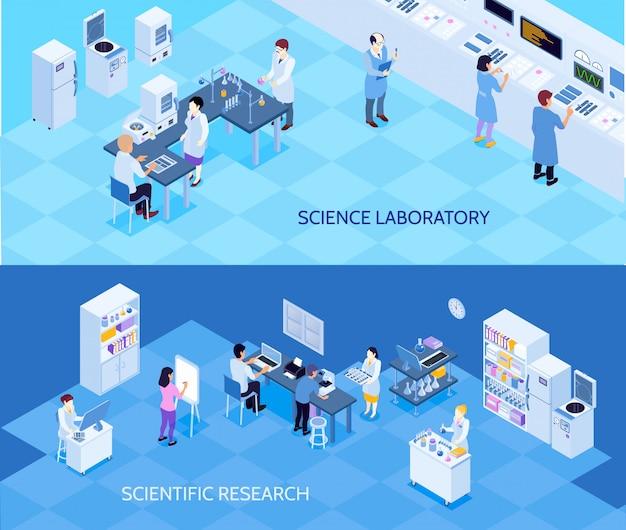 Banners isométricas horizontais de laboratório de ciência com pessoas carregando pesquisas tecnológicas sobre fundo azul Vetor grátis