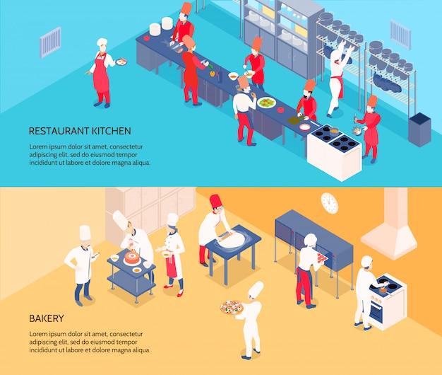 Banners isométricos de cozinha profissional com restaurante cozinha e padaria em fundos azuis e amarelos isolados Vetor grátis