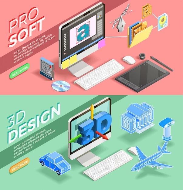 Banners isométricos de design gráfico Vetor grátis