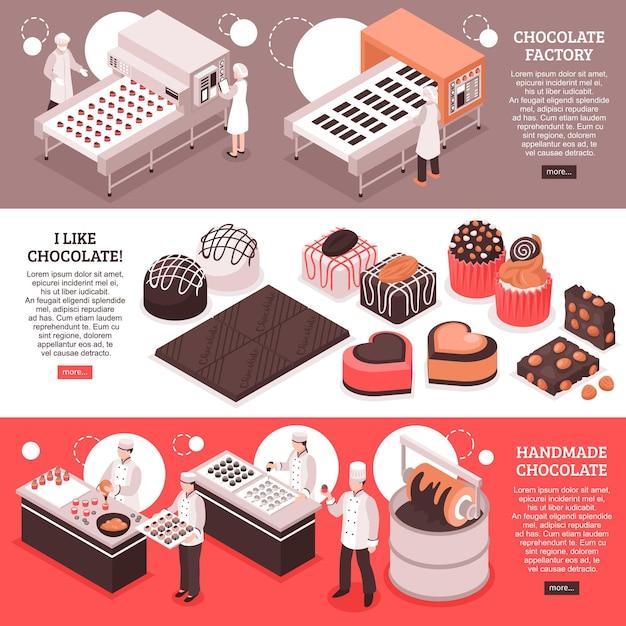 Banners isométricos de fabricação de chocolate com linhas de transportadoras de fábrica automatizadas no local de trabalho e produção artesanal de doces Vetor grátis